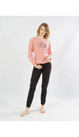 104057 0253 Комплект с брюками длинный рукав SHINE розовый