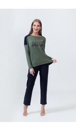 1527 Комплект с брюками длинный рукав зеленый