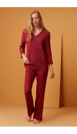 1530 Комплект с брюками длинный рукав красный