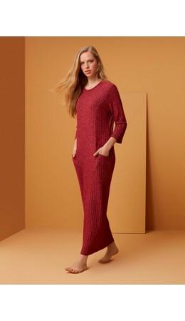 1532 Платье длинное с карманами красный