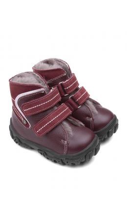 Ботинки детские мех 23026 кожа, МОСКВА бордо