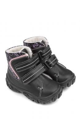 Ботинки детские 23026 кожа, СТОКГОЛЬМ черный/зодиак