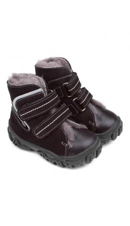 Ботинки детские мех 23026 кожа, МИЛАН черный