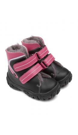 Ботинки детские мех 23026 кожа, БОМБЕЙ малиновый
