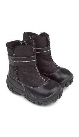 Ботинки детские мех 22016 кожа, МИЛАН черный