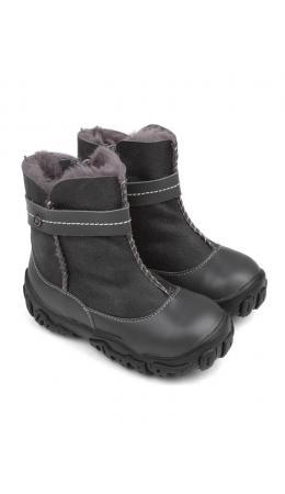 Ботинки детские мех 22016 кожа, БЕРЛИН серый