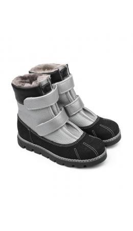 Ботинки детские мех 23010 кожа, ЛОНДОН серебристый