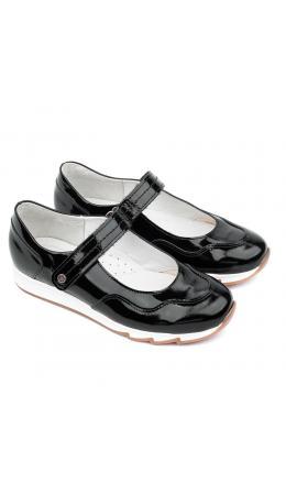 Туфли детские 25016 кожа, ЧЕЧЁТКА чёрный