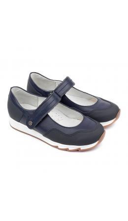 Туфли детские 25016 кожа, ЛЁН синий