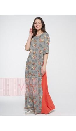 Платье женское 201-3601; Ш55/Ш43 оливковый-цветы/апельсиновая корочка