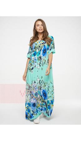 Платье женское 201-3602; Ш65 ментоловый цветы
