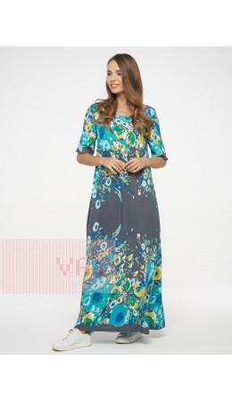 Платье женское 201-3602; Ш64 тёмно-серый цветы