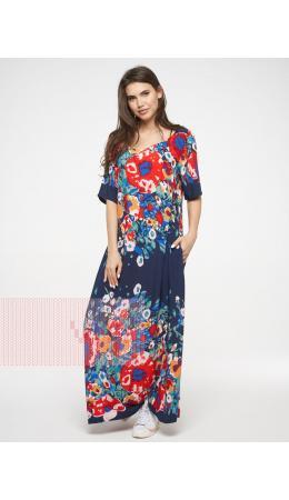 Платье женское 201-3602; Ш63 тёмно-синий цветы