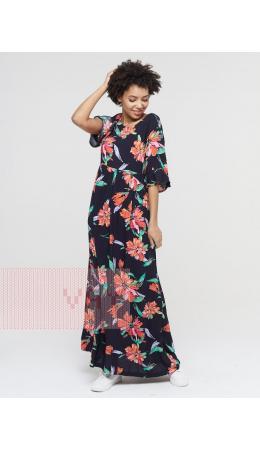 Платье женское 211-3638; Ш77 тёмно-синий цветы