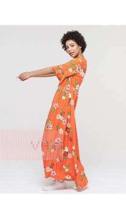 Платье женское 211-3638; Ш75 ярко-оранжевый цветы