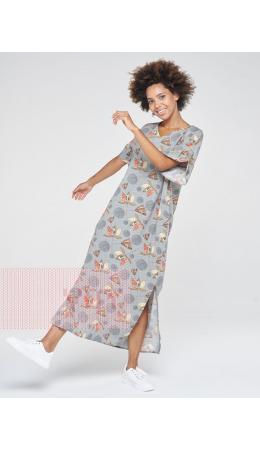 Платье женское 201-3600; Ш55 оливковый-цветы