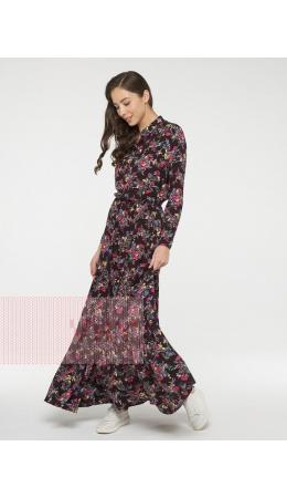 Платье женское 211-3634; Ш74 т.сливовый цветы