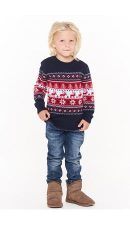 Джемпер детский 202-6206; 189/10054/07/03 т.синий/optik/красный