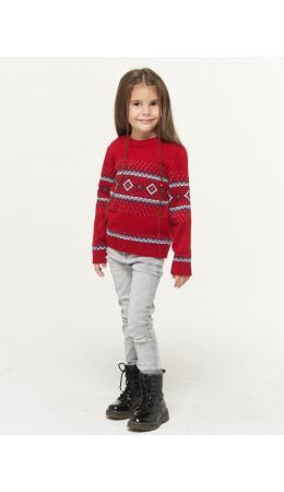 Джемпер детский 202-6221; 0703/189/10054 красный/т.синий/optik