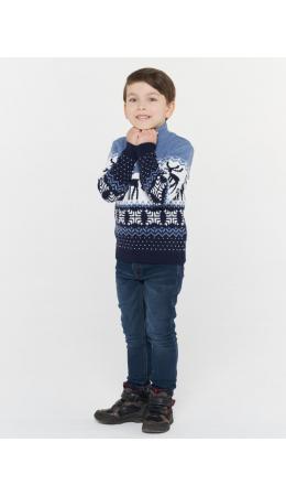Джемпер детский 202-6225; 189/10054/18-4020 т.синий/белый/св.деним