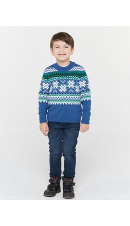 Джемпер детский 212-6233; 245/074/40454/189 деним/белый/зелёный лес/т.синий