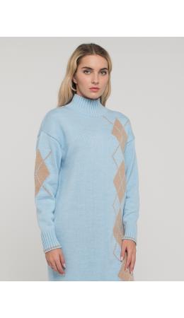 Платье женское BY212-20028; 14-4317/71 холодный голубой/латте