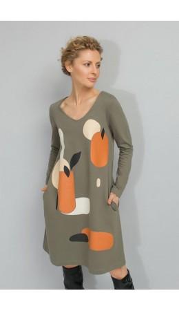 ЕВТ 5009/оливково-серый платье