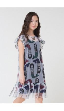 КБ 5534/русалки на белом,черный платье