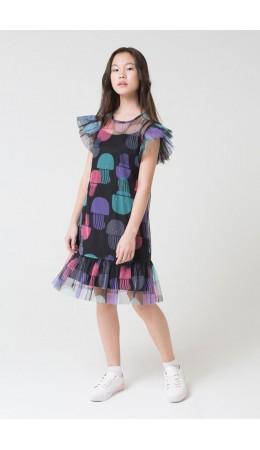 КБ 5534/медузы на черном,черный платье