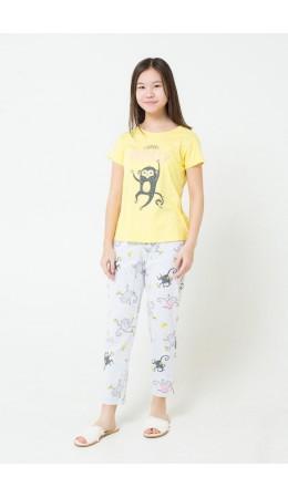 КБ 2685/лимонный+обезьянки на меланже комплект