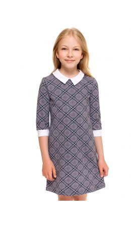 Платье ДПД205258н; клетка диагональная серый+черный+белый