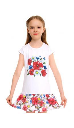 Платье ДПК111804н; белый+маки и васильки / Букет маки и васильки