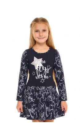 Платье ДПД221804нг; темно-синий82+серебряные граффити на темно-синем / Звезды серебро