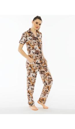 011235 8732 Комплект с брюками короткий рукав МИШКИ оранжевый