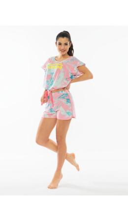 011242 3599 Комплект с шортами короткий рукав ЛАЗУРЬ розовый
