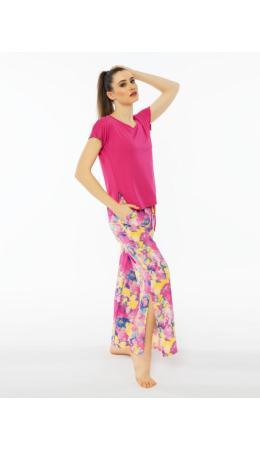 012063 0525 Комплект с брюками короткий рукав ОРХИДЕЯ малиновый