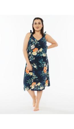 012073 1345 Платье без рукавов ЦВЕТЫ черный