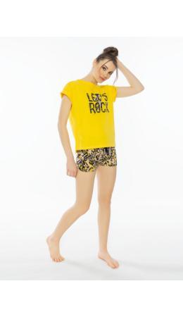 012115 4908 Комплект с шортами короткий рукав LET'S ROCK желтый