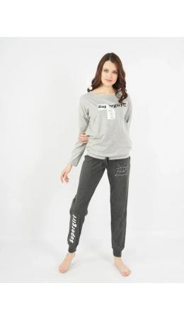 103018 0000 Комплект с брюками длинный рукав SUPERGIRL серый