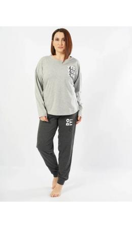 103020 0000 Комплект с брюками длинный рукав SUPERGIRL серый