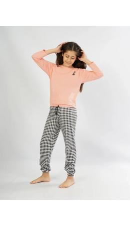104189 2038 Комплект с брюками длинный рукав КАРТА дет. розовый
