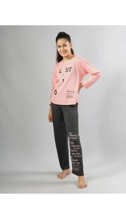 104357 0000 Комплект с брюками длинный рукав НАДПИСИ дет. розовый