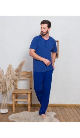 008064 3984 Комплект с брюками короткий рукав Сапфир синий
