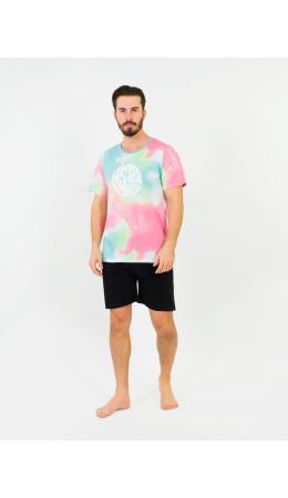 008088 5330 Комплект с шортами короткий рукав Акварель розовый