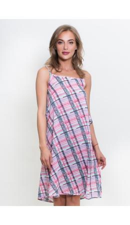 388 Платье на бретельках волан на спине Клетка розовый