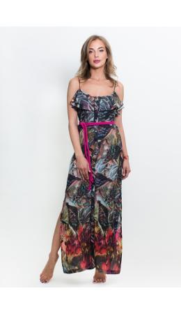 8132 Платье длинное на пуговицах с поясом 'Тропические цветы' разноцветный