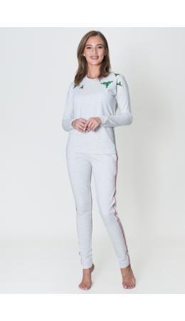 8449 Комплект с брюками и свитшотом Апликация серый