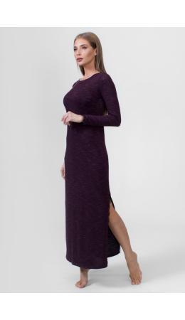 8620 Платье длинное с длинным рукавом баклажановый