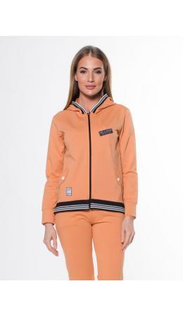 979000 2525 Жакет спортивный с капюшоном на молнии женский оранжевый