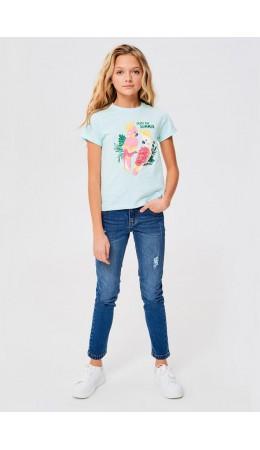 Брюки джинсовые детские для девочек Lane синий